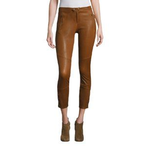 Joie Darnella Cropped Leather Leggings in Dark Amber Brown